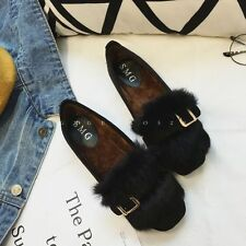 Women's Fashion Chic Round Toe Winter Warm Rabbit Fur Buckles Ballet Flats Shoes
