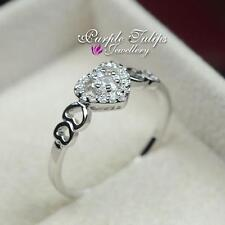 18CT White Gold GP Heart&Heart Ring Made With SWAROVSKI Crystals