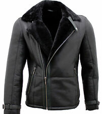 Men's Black Double Breasted Real Sheepskin Biker Jacket