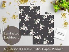 Black Floral Laminated Dashboard - Happy Planner, Filofax A5 or Personal size