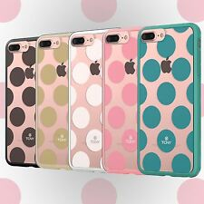 Cute Large Polka Dot on Clear Protective Hybrid Case Cover Slim Hard+Soft Bumper