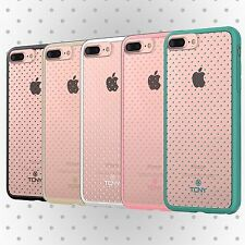 Cute Mini Polka Dot on Clear Protective Hybrid Case Cover Slim Hard+Soft Bumper