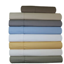 Olympic Queen 4-PC Wrinkle-Free 650 TC Solid Combed Cotton Blend Sheet Sets