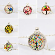 Women Silver Plated Flower Butterfly Glass Dome Cabochon Chain Necklace Spirited