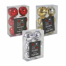 SW 6 Pack 40mm Jingle Bell Baubles Christmas Tree Decoration Red Gold or Silver