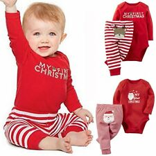 Chirdren Baby Boy Girls Christmas Clothes Tops Romper Long Pants Kid Outfits Set
