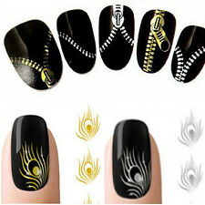 Nail Art Peacock Feather Metallic Zipper Stickers Nail Art Wraps Decals Spirited