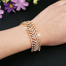 Women Multilayer Alloy Party Wedding Wrap Cuff Bangle Chain Bracelet Spirited