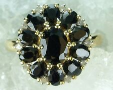 NEW Genuine Solid 9CT Yellow Gold Real Natural Sapphire Diamond Ring Size M - N