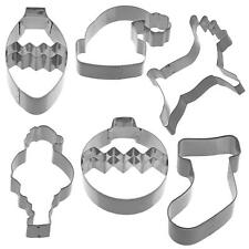 Kitchen Craft Christmas Metal Cookie Biscuit Cutters Santa Hat Reindeer Stocking