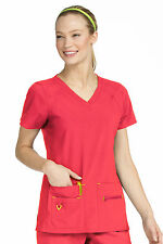 Activate by Med Couture Women's Refined V-Neck Solid Scrub Top 8416-Sun Kissed