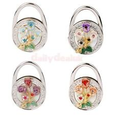 Rose Flowers Rhinestone Round Folding Handbag Hanger Hook Holder Gift 4 Colors