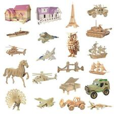3D Wooden Puzzles Animal/Car/Plane/Ship Model Realistic DIY Assembly Jigsaw Toys