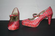 Miss Albright Anthropologie Mary Jane Shoes Heels Red Strawberry Mod Cloth 9.5