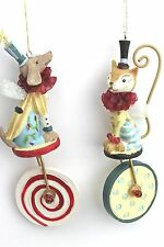 GISELA GRAHAM CHRISTMAS RESIN FANTASY CIRCUS DOG CAT FAIRY ON WHEEL DECORATION