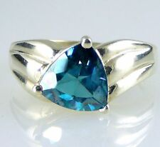 Trillion Tahitian Blue Topaz Ring, Stunning Color .925 SS Silver 4.5CTW