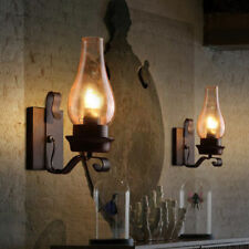 Vintage Rustic Single light Metal Wall Sconce Glass Chimney Shade Lamp Light
