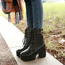 High Chunky Heel Womens Ankle Boot Punk Metal Buckle Platform Lace Up New Riding