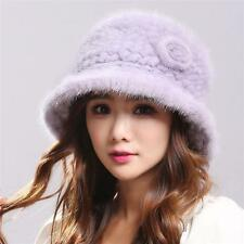 Fashion warm winter women Genuine Real mink knitted Fur hat Russian fur hat