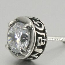 White CZ Stone 316L Stainless Steel Charm Stud Earring T038D