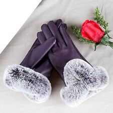 Women Ladies Washed Leather Gloves Fur Lined Winter Warm Touch Screen Mittens