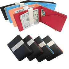Mens Leather Wallet Money Card Clutch Bifold Purse Pockets + Money Clip