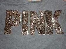 "VICTORIAS SECRET PINK BLING NEW CAMPUS ""PINK"" SCOOPNECK POCKET TEESHIRT NWT"