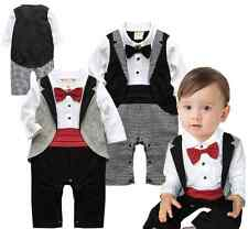 Baby Toddler Boy Wedding Christening Tuxedo Formal Suit Romper Outfit Clothes