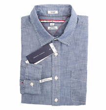 Tommy Hilfiger Men Long Sleeve Custom Fit Button Down Blue Shirt - $0 Free Ship