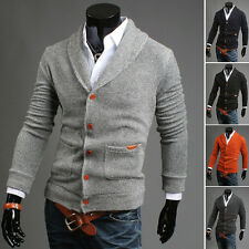 Mens Autumn Winter Casual V-neck Outerwear Knit Cardigan Button Sweater Coat Tee