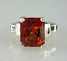 Padparadsha Sapphire Lab Created Emerald Cut Solitaire ring 925 Sterling silver