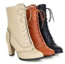 Brogue Womens Lace Up Wing Tip Knight Mid Calf Boots Chunky heels Vintage#PLUS