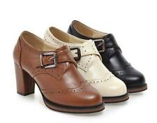 Brogues Womens Buckle Block Heels Shoes Retro Buckle Oxfords Ankle Boots#Plus
