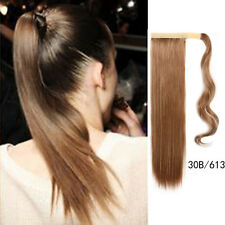 Clip In On Ponytail Hair Extensions Wrap Around Pony Tail Straight Hair Piece