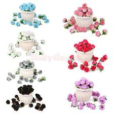50x Artificial Silk Roses Flower Heads Hair Clips Wholesale Lot Various Color