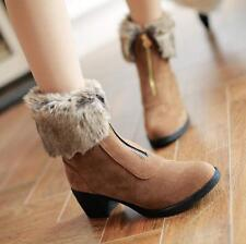 Womens Fur Lining Winter Casual Zipper Wedge Heels Ankle Boots Street Shoes Plus