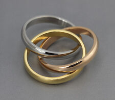 3 Colors Band Ring Stainless Steel Ring Gold Silver Tone Rose-gold Décor Gifts