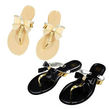 Womens Ladies Toe Bow Diamante Jelly Summer Flat Flip Flop Thong Sandals DT