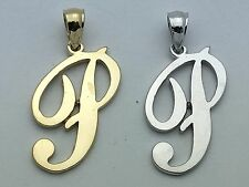 "14K Gold Alphabet Initial Letter ""P"" Charm Pendant in Yellow, White or Rose Gold"