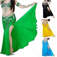 Women High Waisted Slits Long Maxi Skirt Hip Scarf Belly Dance Costume 7 Colors