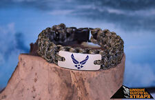 USAF light duty OD/tan camo paracord bracelet w/ Air Force digital wings charm