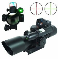 Hunting Tactical 2.5-10x40 Scope w/Green Laser + Mini 3 MOA Red Dot Sight New