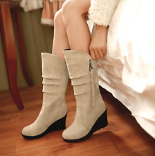 European Women Wedge heel Shoes Increasing Mid-calf match Boots 6 Color US4.5-10