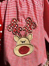Applique Reindeer Red Check Christmas Dress Peasant 24M 2T 3T 4T 5 6 7 8 10 12