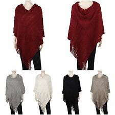 Women's Snug and Warm Crochet Hooded Fringe Poncho Sweater Cape Wrap Shawl