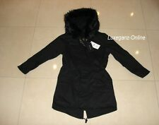 Zara Oversized Parka Jacket Faux Fur Hood Removable Quilted size Small uk 8 eu36