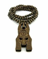 "EGYPTIAN ANUBIS 3 COLORS PENDANT & 36"" GOOD WOOD BEAD CHAIN HIP HOP NECKLACE"