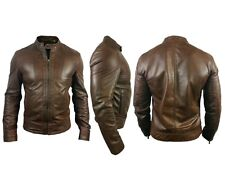 NEW Mens Designer ALEXANDER CAINE Brown/Tan Original Lambs Skin Leather Jacket