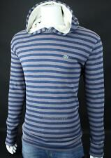 LACOSTE Croc Logo Mens Thermal Waffle Hooded Striped Top Blue Gray NWT $110