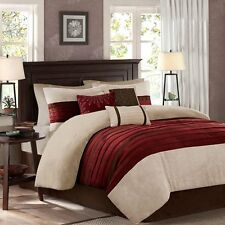 Luxurious 7 Piece Embroidery Red/Khaki/Brown Microsuede Comforter Set New.